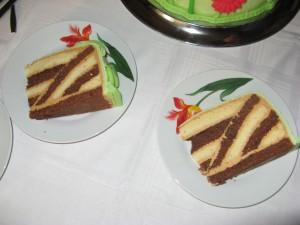 Prevrátená torta v reze